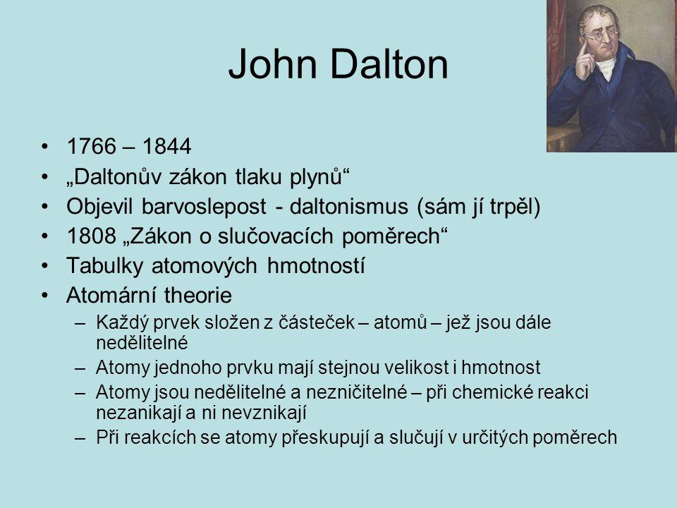 "John Dalton 1766 – 1844 ""Daltonův zákon tlaku plynů"