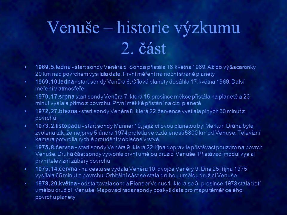 Venuše – historie výzkumu 2. část