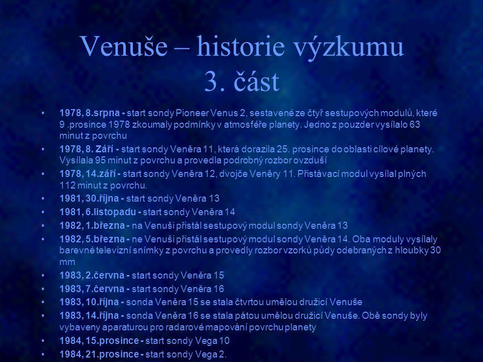 Venuše – historie výzkumu 3. část