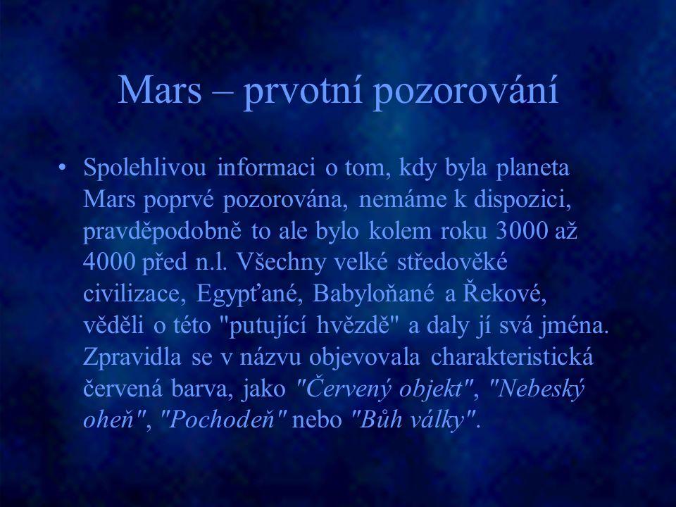 Mars – prvotní pozorování