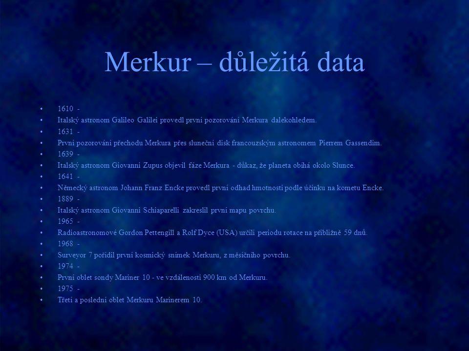 Merkur – důležitá data 1610 -