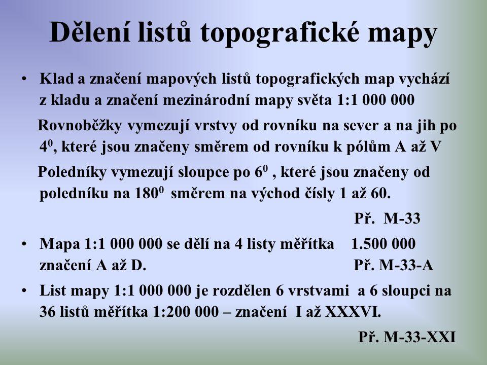 Dělení listů topografické mapy