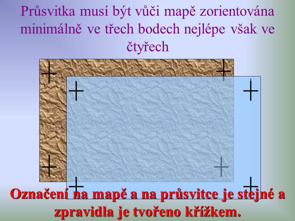 Průsvitka musí být vůči mapě zorientována