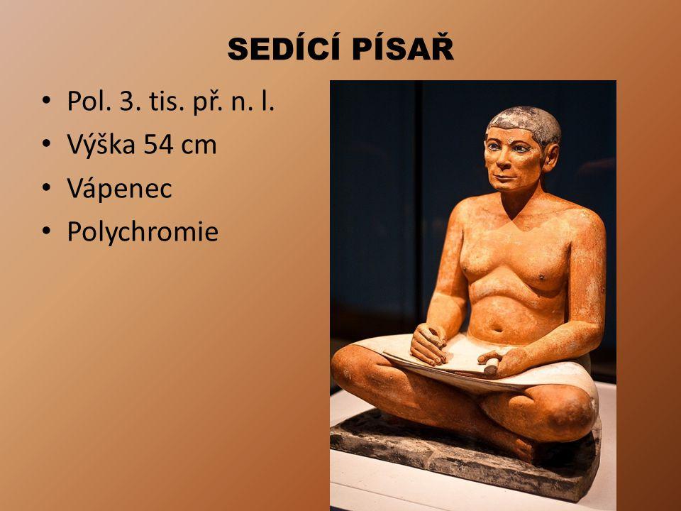 SEDÍCÍ PÍSAŘ Pol. 3. tis. př. n. l. Výška 54 cm Vápenec Polychromie