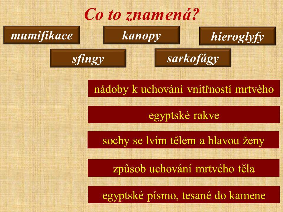 Co to znamená mumifikace kanopy hieroglyfy sfingy sarkofágy