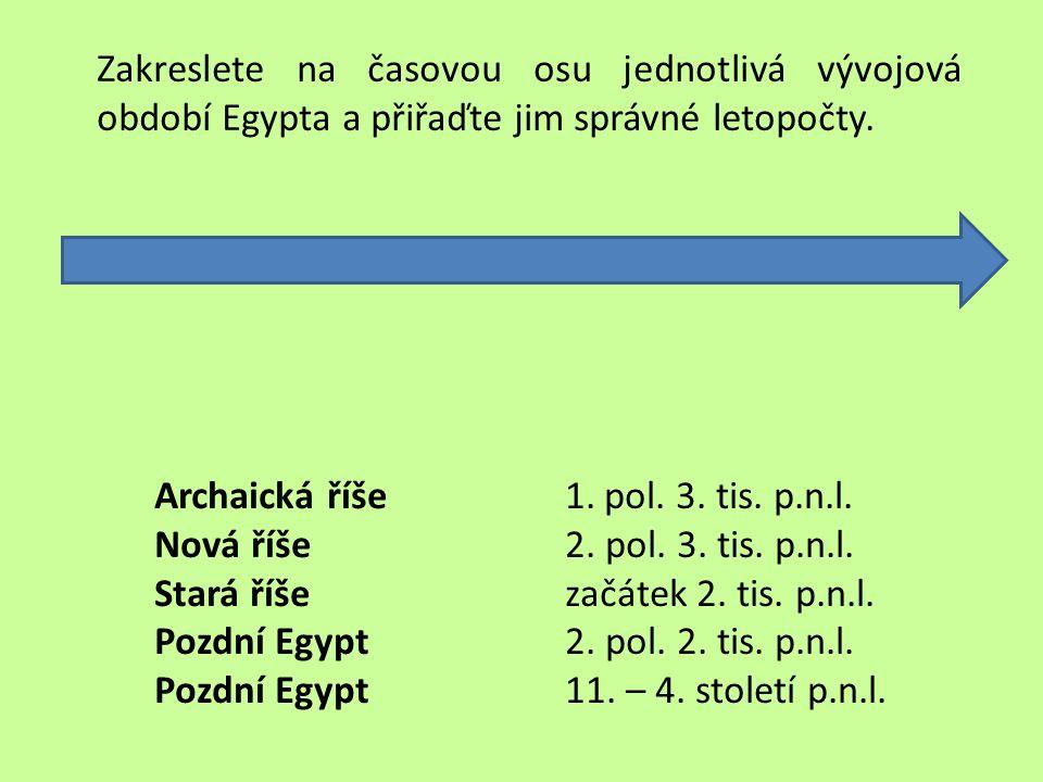 Zakreslete na časovou osu jednotlivá vývojová období Egypta a přiřaďte jim správné letopočty.