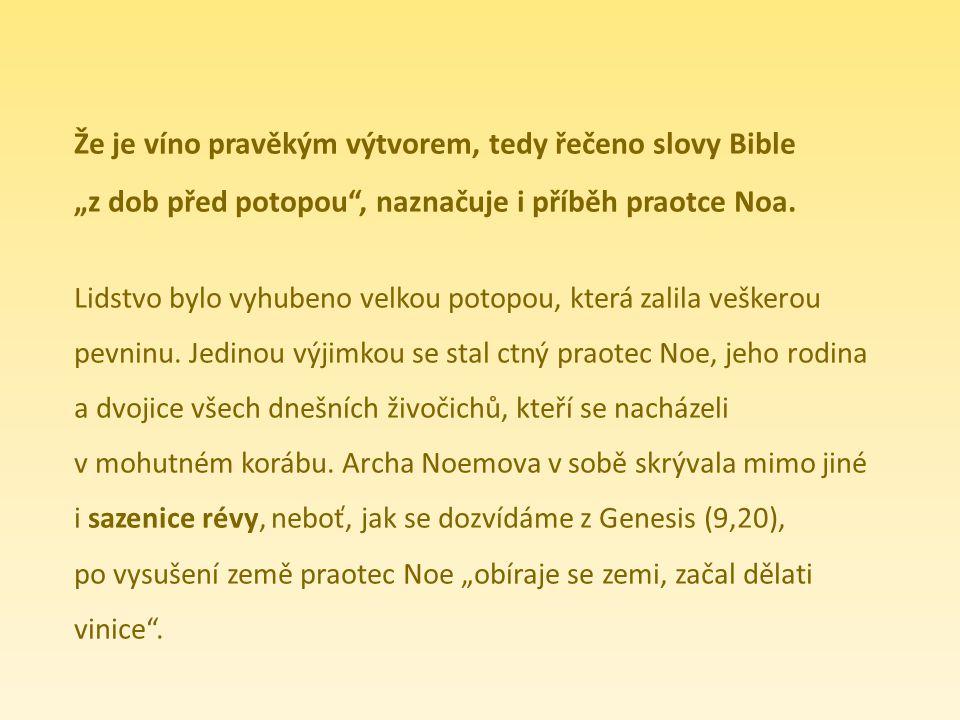 Že je víno pravěkým výtvorem, tedy řečeno slovy Bible
