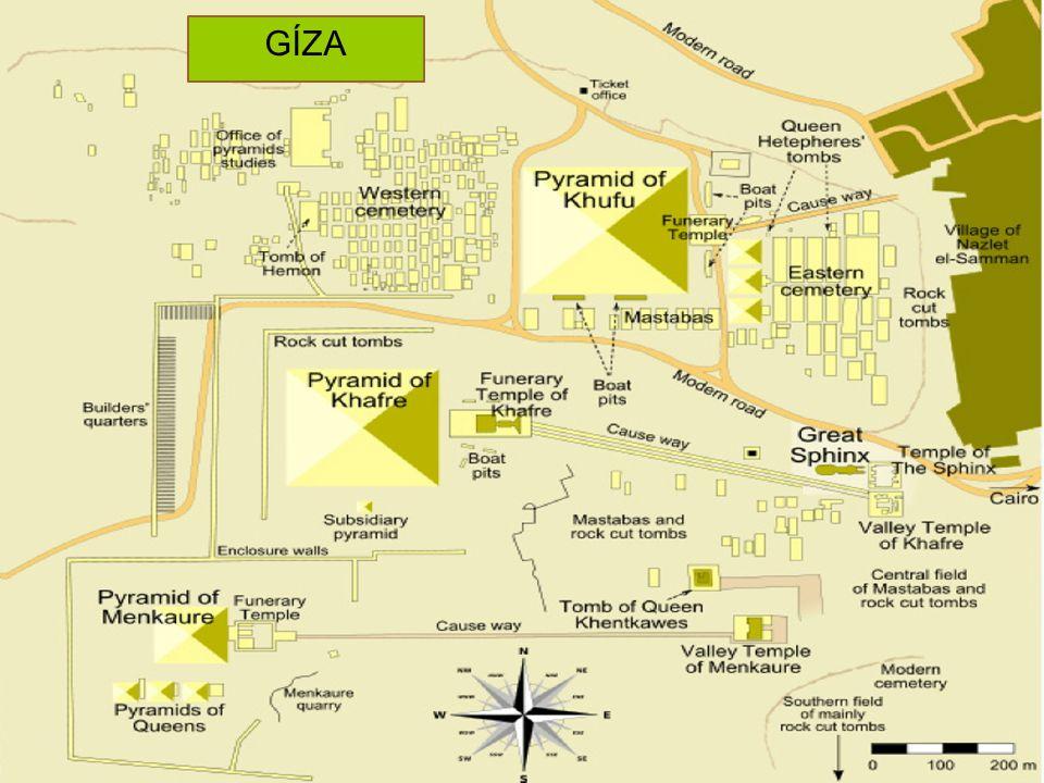 GÍZA Nákres pohřebiště v Gíze