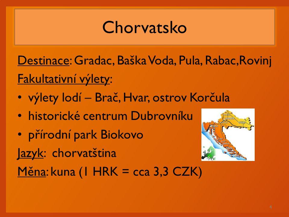 Chorvatsko Destinace: Gradac, Baška Voda, Pula, Rabac,Rovinj