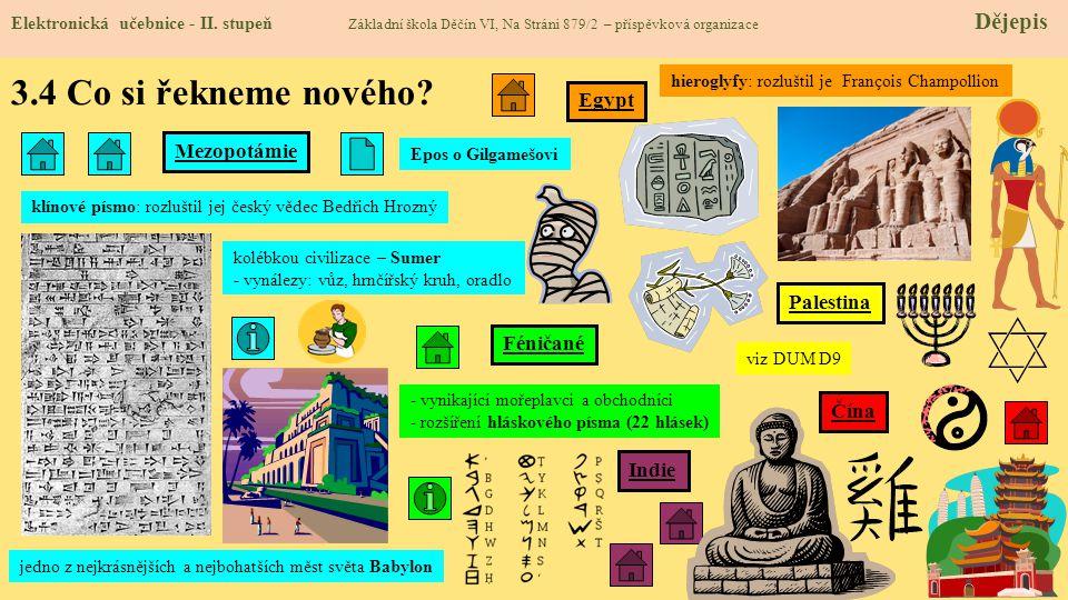 3.4 Co si řekneme nového Egypt Mezopotámie Palestina Féničané Čína