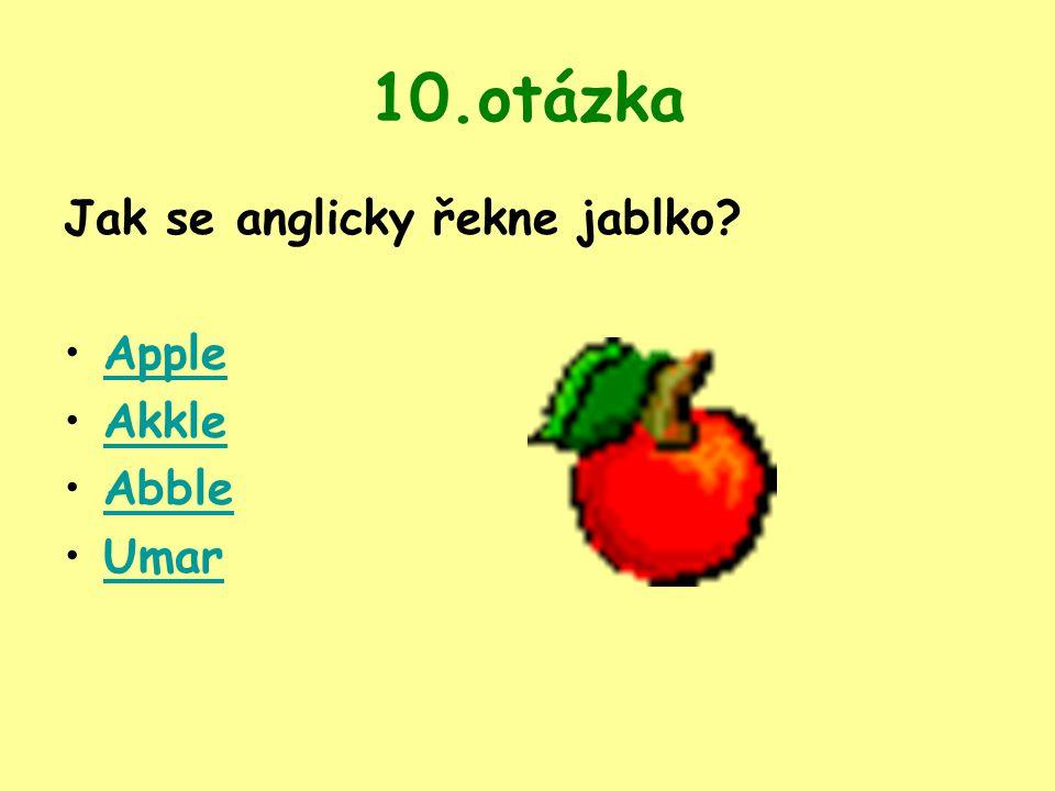 10.otázka Jak se anglicky řekne jablko Apple Akkle Abble Umar