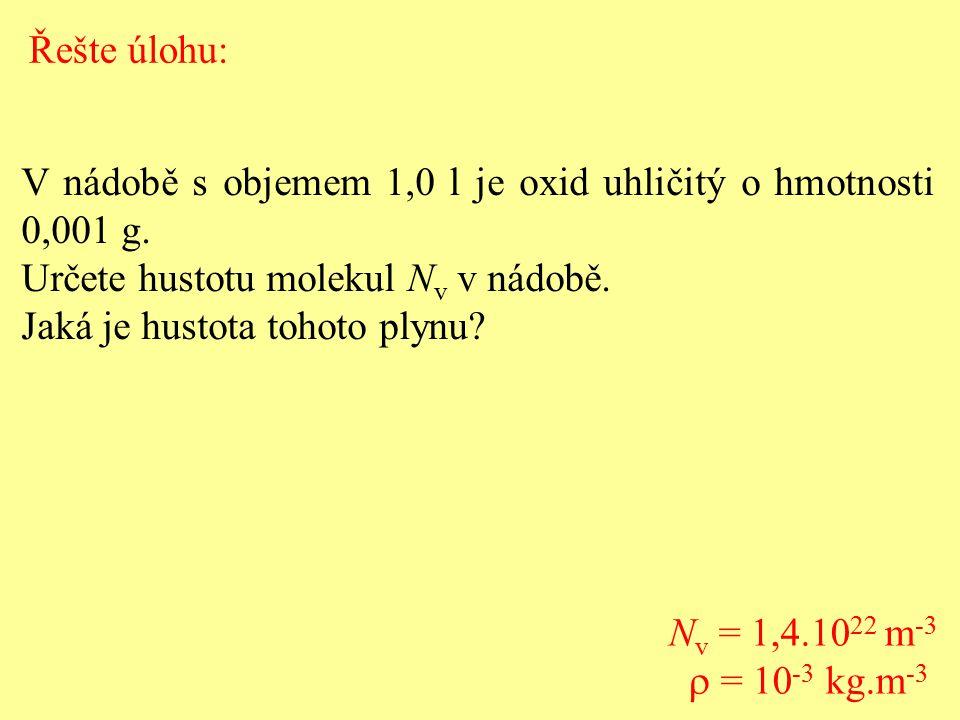 Řešte úlohu: V nádobě s objemem 1,0 l je oxid uhličitý o hmotnosti 0,001 g. Určete hustotu molekul Nv v nádobě.