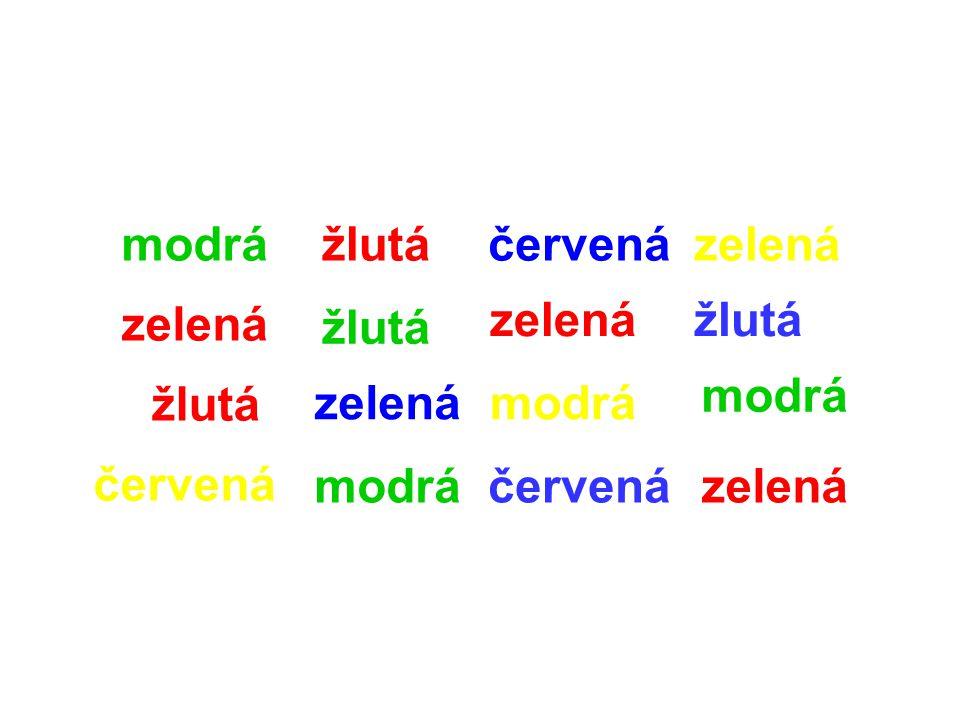 modrá žlutá. červená. zelená. zelená. zelená. žlutá. žlutá. modrá. žlutá. zelená. modrá. červená.