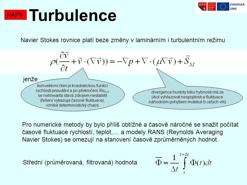 Turbulence NAP9. Navier Stokes rovnice platí beze změny v laminárním i turbulentním režimu. jenže.