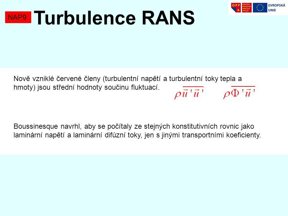 Turbulence RANS NAP9. Nově vzniklé červené členy (turbulentní napětí a turbulentní toky tepla a hmoty) jsou střední hodnoty součinu fluktuací.