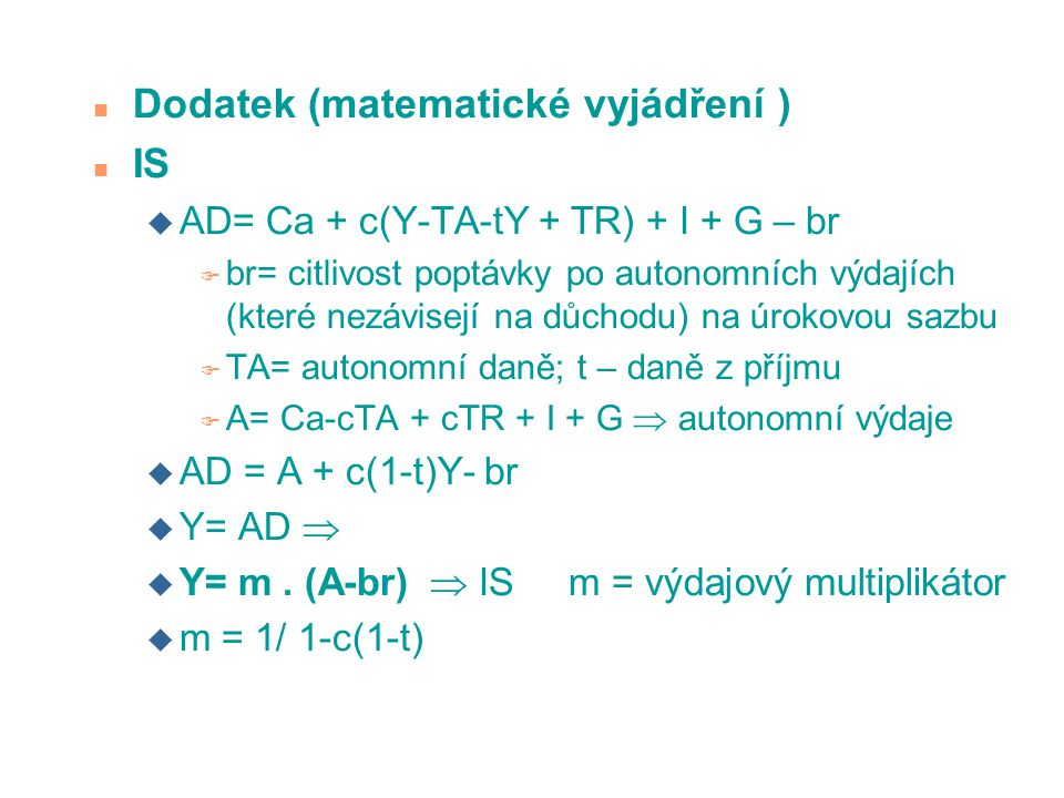 Dodatek (matematické vyjádření ) IS