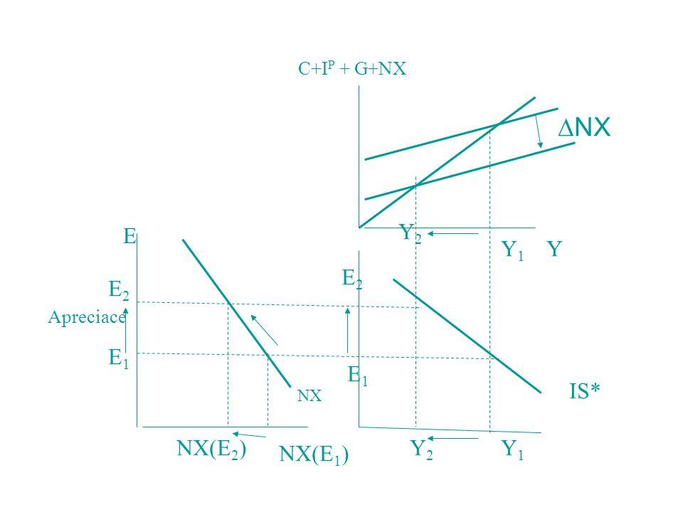 C+IP + G+NX E1 E2 NX(E1) NX(E2) NX Y Y1 Y2 NX IS* E Apreciace