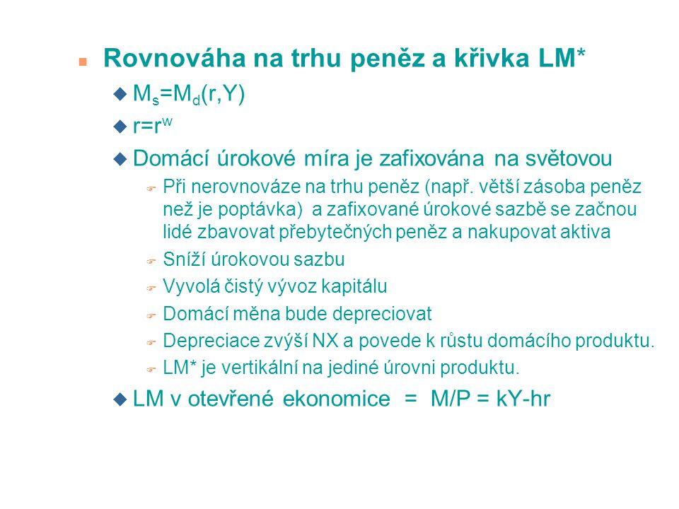 Rovnováha na trhu peněz a křivka LM*