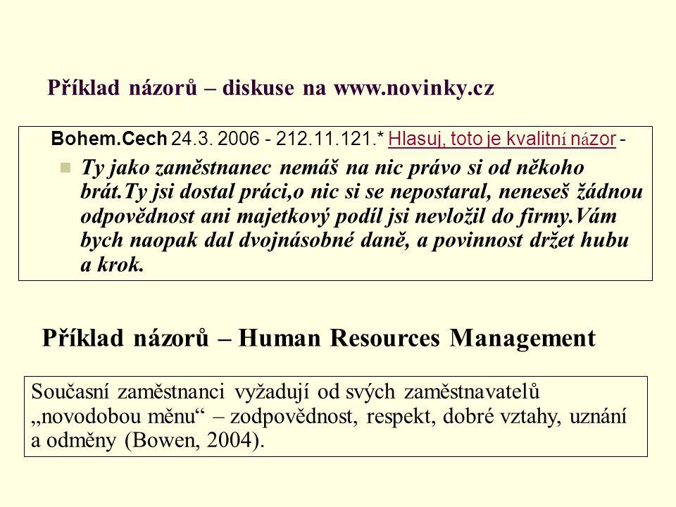 Příklad názorů – diskuse na www.novinky.cz