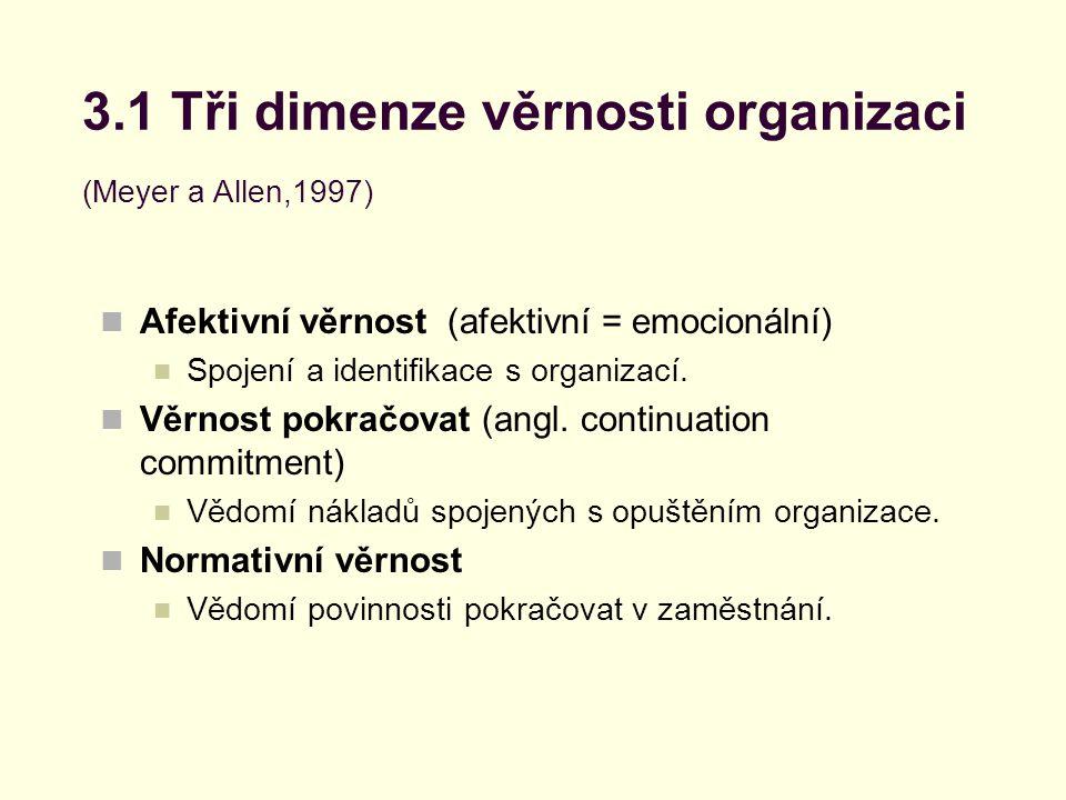 3.1 Tři dimenze věrnosti organizaci (Meyer a Allen,1997)