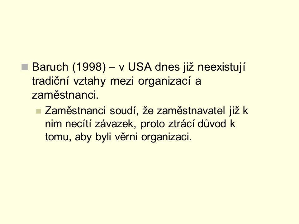 Baruch (1998) – v USA dnes již neexistují tradiční vztahy mezi organizací a zaměstnanci.