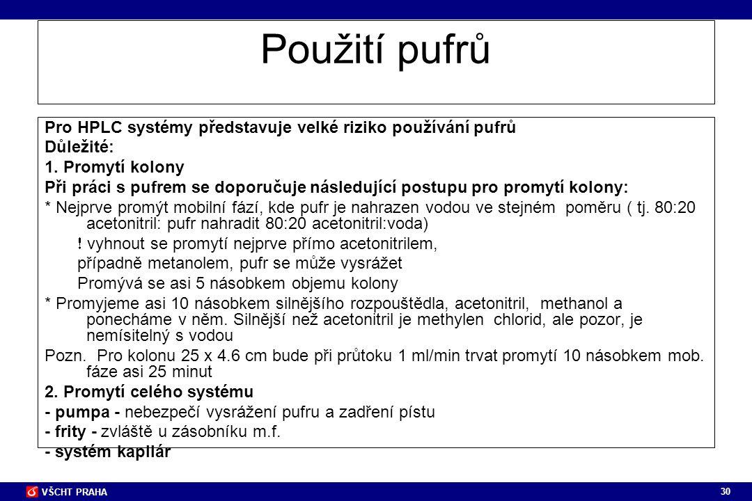 Použití pufrů Pro HPLC systémy představuje velké riziko používání pufrů. Důležité: 1. Promytí kolony.