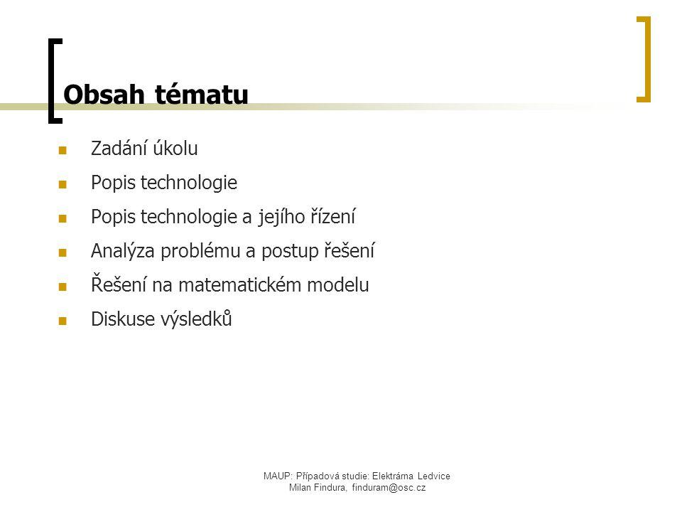 Obsah tématu Zadání úkolu Popis technologie