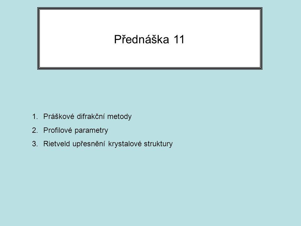 Přednáška 11 Práškové difrakční metody Profilové parametry