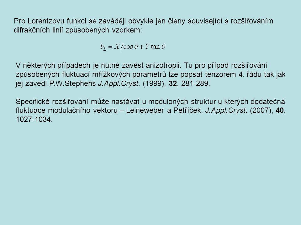 Pro Lorentzovu funkci se zaváději obvykle jen členy související s rozšiřováním difrakčních linií způsobených vzorkem: