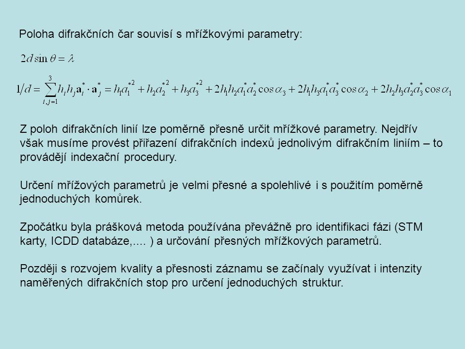 Poloha difrakčních čar souvisí s mřížkovými parametry: