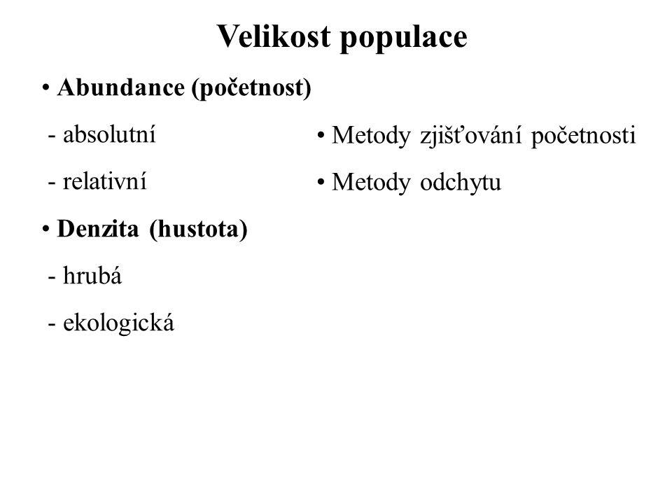 Velikost populace Abundance (početnost) - absolutní - relativní