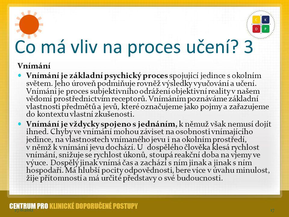 Co má vliv na proces učení 3