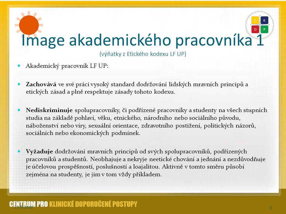 Image akademického pracovníka 1 (výňatky z Etického kodexu LF UP)