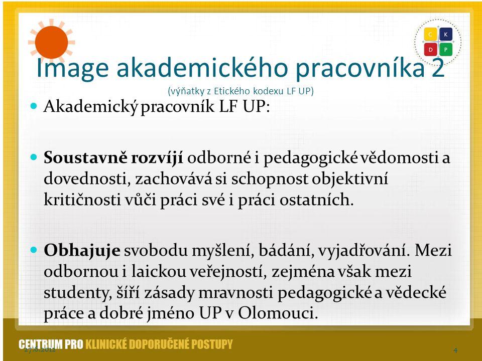 Image akademického pracovníka 2 (výňatky z Etického kodexu LF UP)