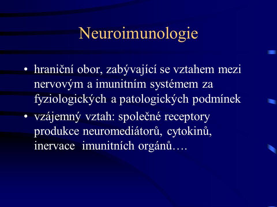 Neuroimunologie hraniční obor, zabývající se vztahem mezi nervovým a imunitním systémem za fyziologických a patologických podmínek.