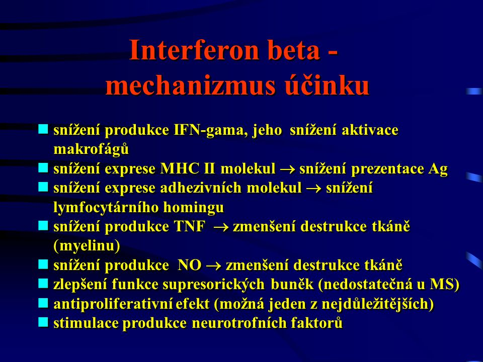 Interferon beta - mechanizmus účinku