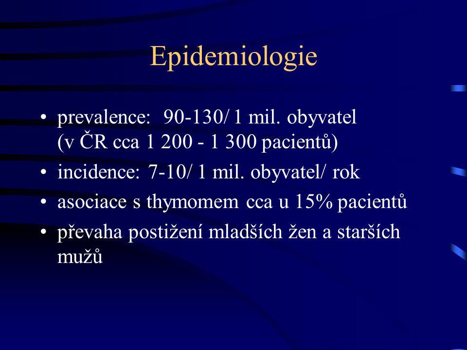 Epidemiologie prevalence: 90-130/ 1 mil. obyvatel (v ČR cca 1 200 - 1 300 pacientů) incidence: 7-10/ 1 mil. obyvatel/ rok.