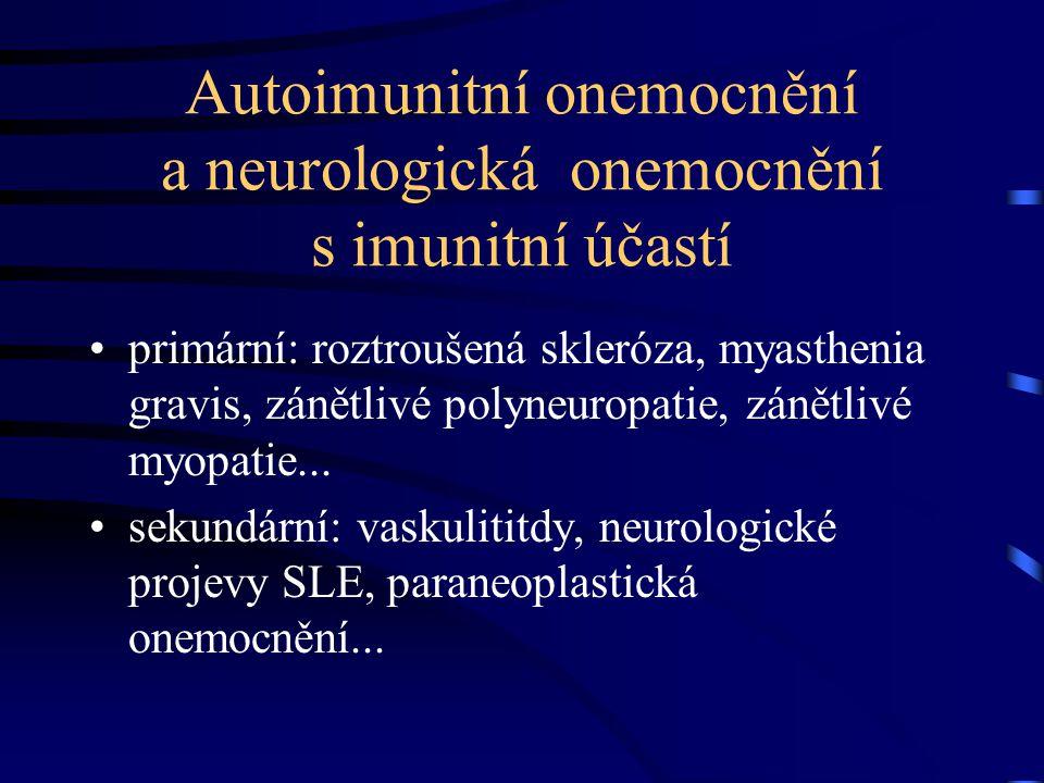 Autoimunitní onemocnění a neurologická onemocnění s imunitní účastí