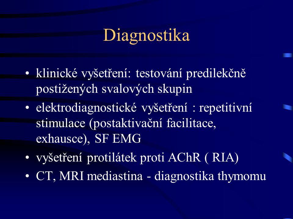 Diagnostika klinické vyšetření: testování predilekčně postižených svalových skupin.