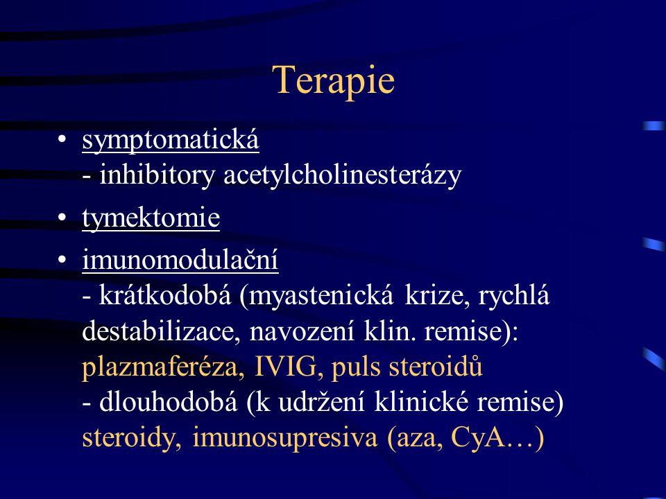 Terapie symptomatická - inhibitory acetylcholinesterázy tymektomie
