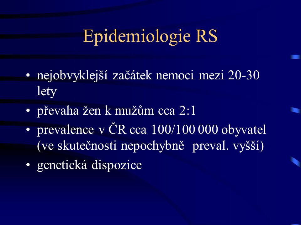 Epidemiologie RS nejobvyklejší začátek nemoci mezi 20-30 lety