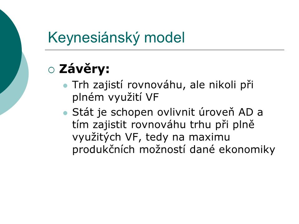 Keynesiánský model Závěry: