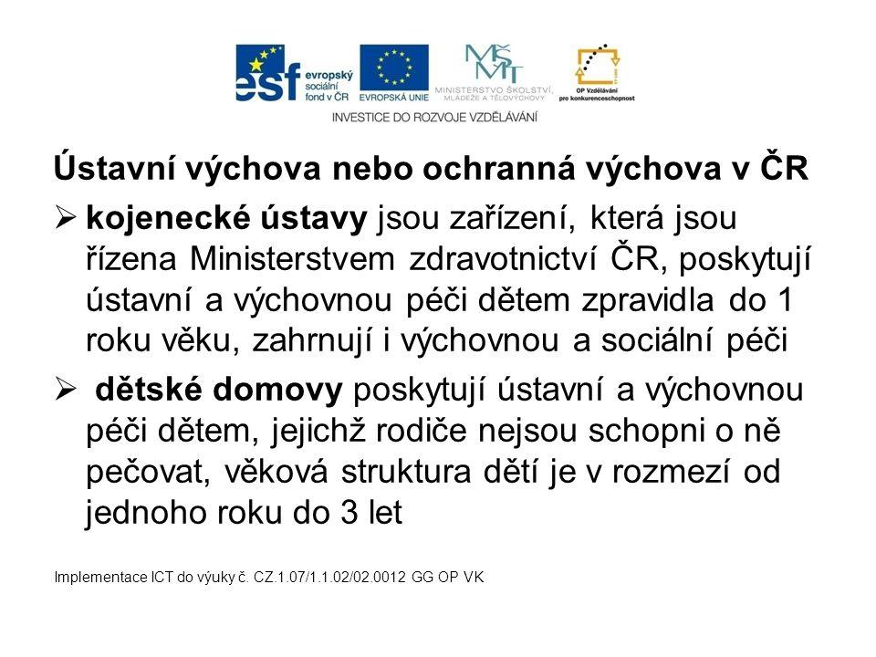 Ústavní výchova nebo ochranná výchova v ČR