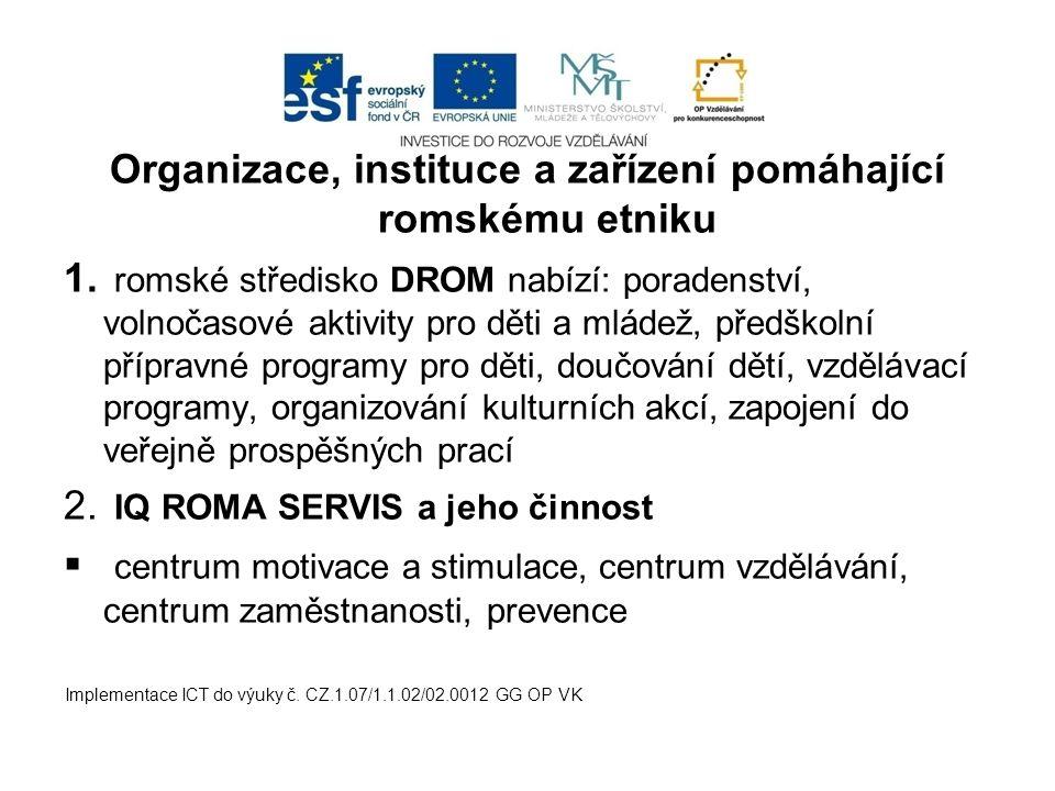 Organizace, instituce a zařízení pomáhající romskému etniku