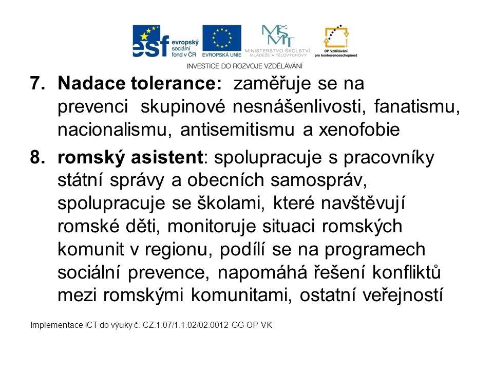 Nadace tolerance: zaměřuje se na prevenci skupinové nesnášenlivosti, fanatismu, nacionalismu, antisemitismu a xenofobie
