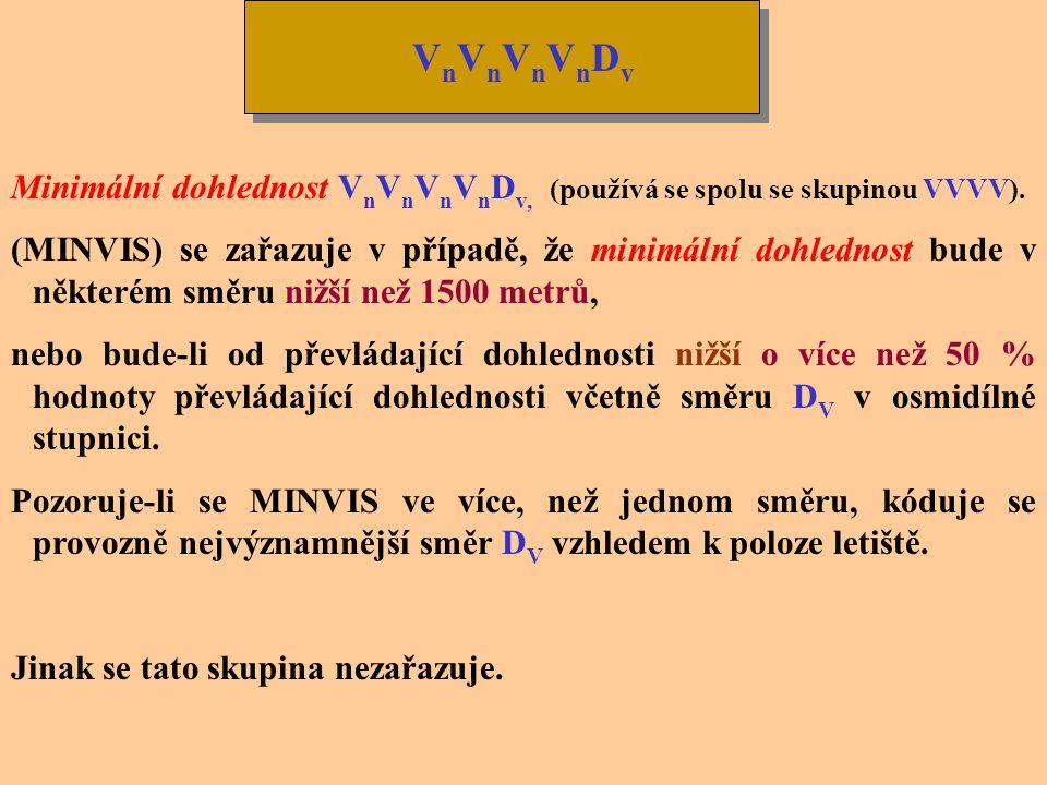 VnVnVnVnDv Minimální dohlednost VnVnVnVnDv, (používá se spolu se skupinou VVVV).