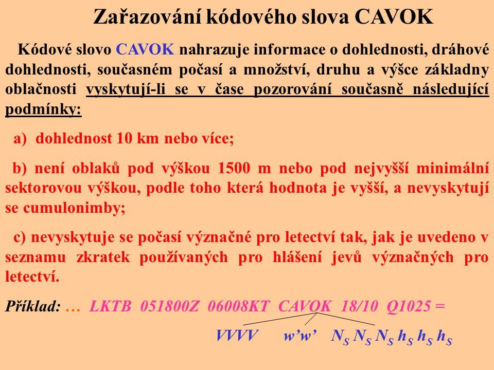 Zařazování kódového slova CAVOK