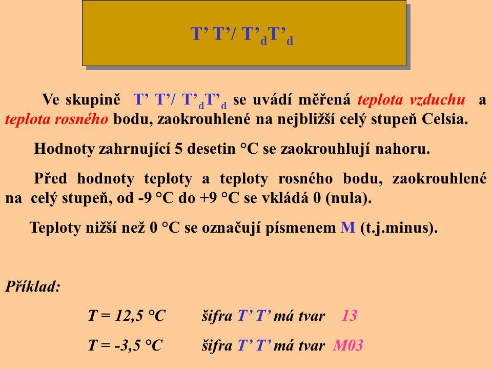 T' T'/ T'dT'd Ve skupině T' T'/ T'dT'd se uvádí měřená teplota vzduchu a teplota rosného bodu, zaokrouhlené na nejbližší celý stupeň Celsia.
