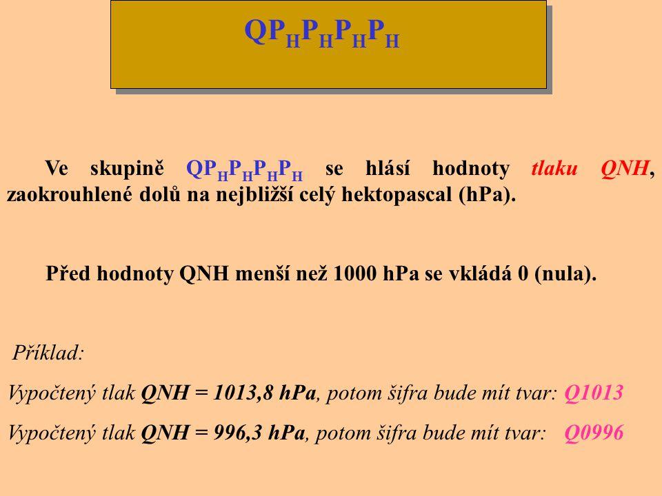 QPHPHPHPH Ve skupině QPHPHPHPH se hlásí hodnoty tlaku QNH, zaokrouhlené dolů na nejbližší celý hektopascal (hPa).