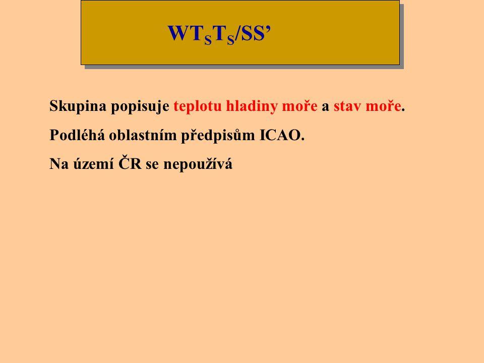 WTSTS/SS' Skupina popisuje teplotu hladiny moře a stav moře.